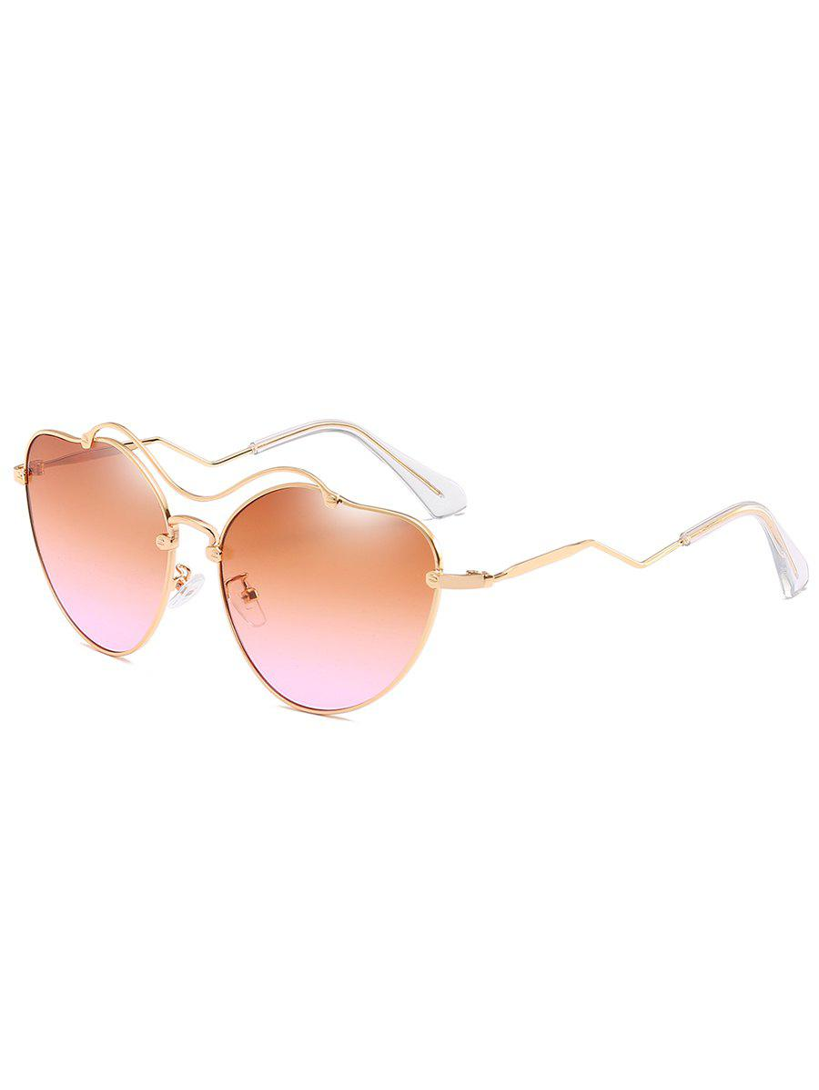 Anti UV Irregular Heart Shaped Sunglasses - GOLD FRAME/DRAK BROWN