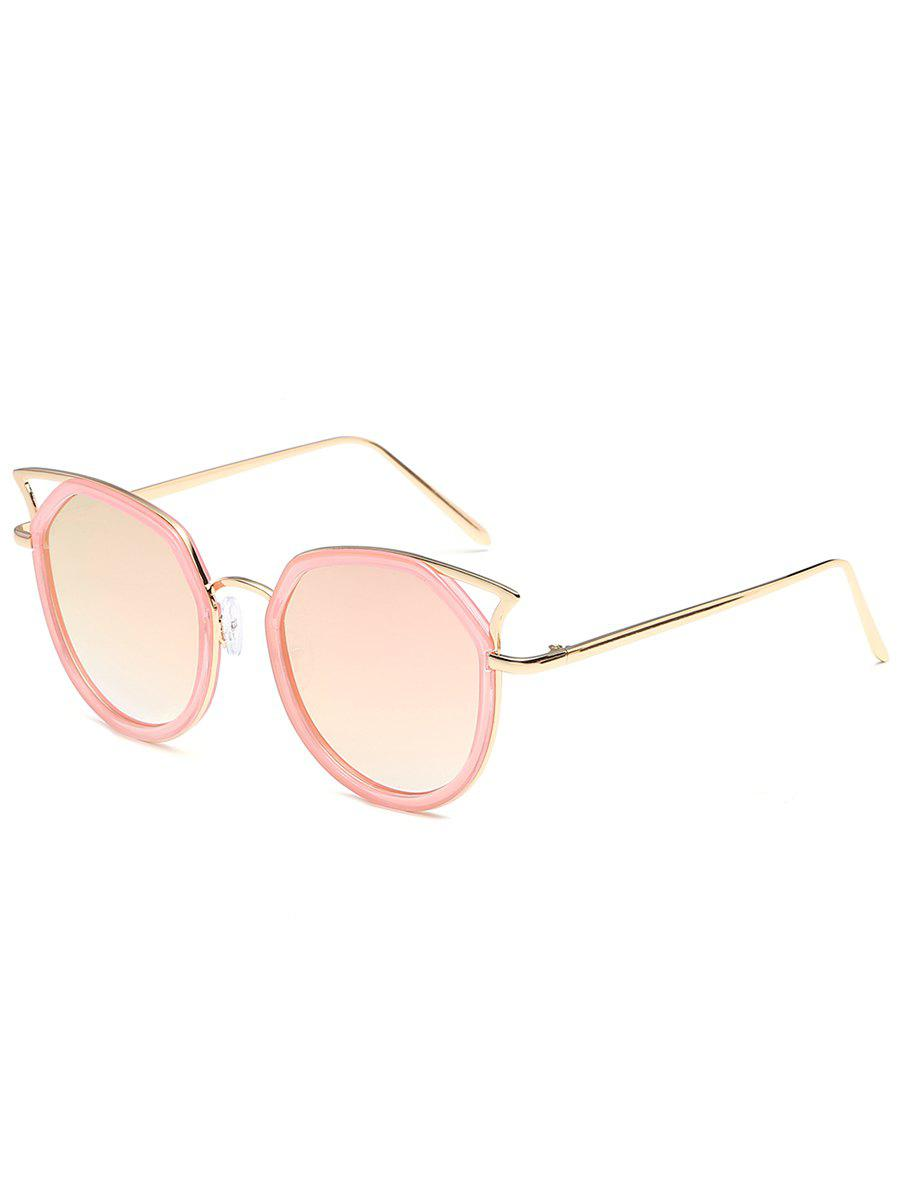 Anti Fatigue Metal Full Frame Hollow Out Sunglasses - GLOD FRAME / PINK LENS