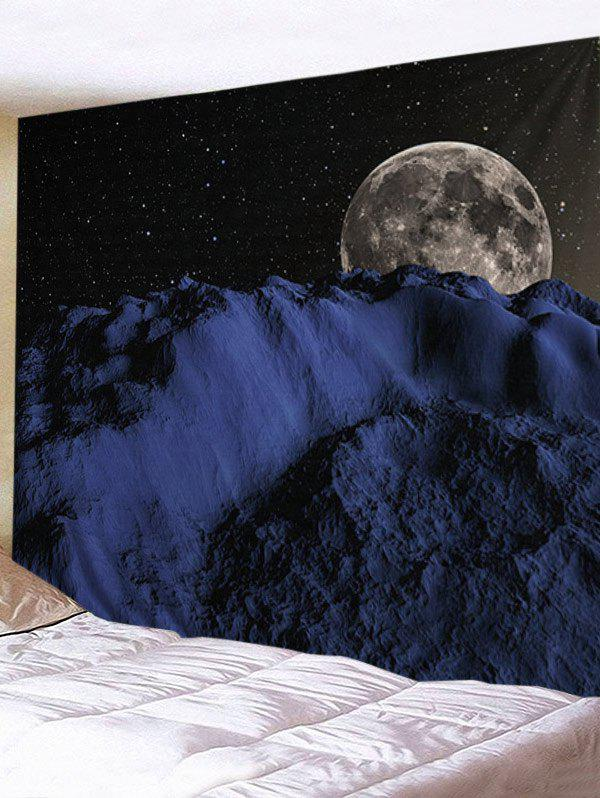 Night Sky Earth Pattern Decorative Wall Tapestry - BLACK W79 INCH * L71 INCH