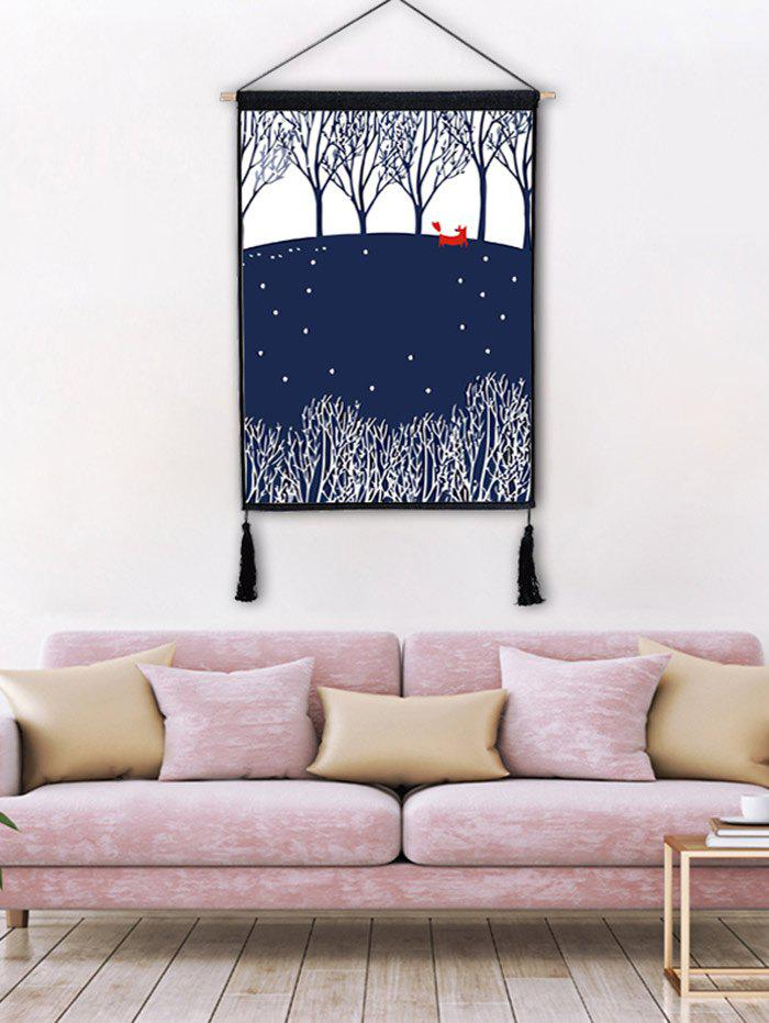Forest Printed Tassel Hanging Painting Wall Decoration - BLUE JAY 1PC:18*26 INCH(NO FRAME)