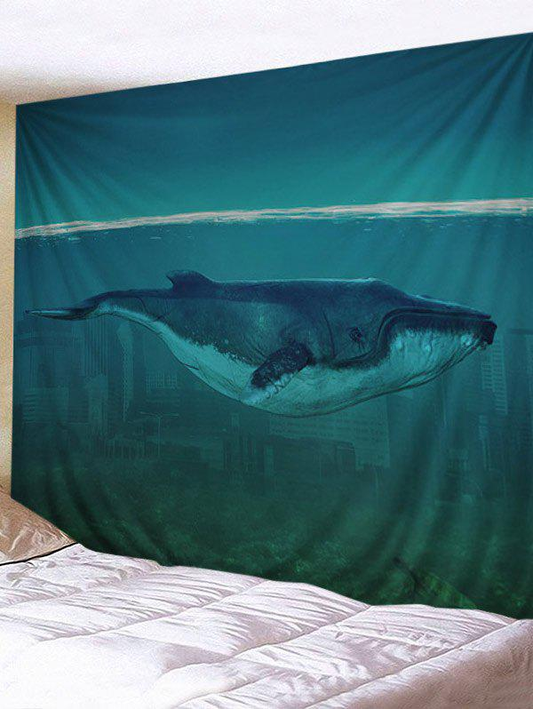 Ocean City Cetacean Pattern Decorative Tapestry - GREENISH BLUE W91 INCH * L71 INCH