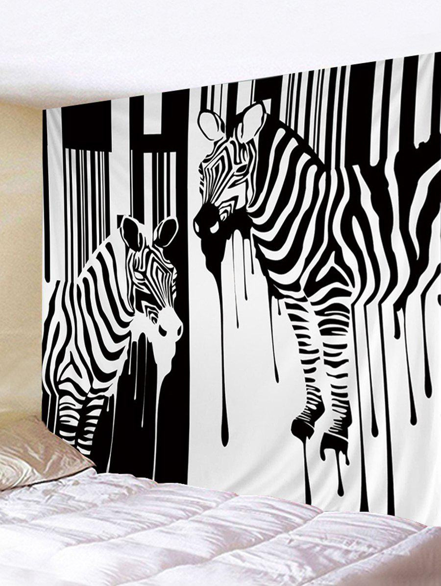Zebra Painting Pattern Decorative Wall Tapestry - BLACK W91 INCH * L71 INCH