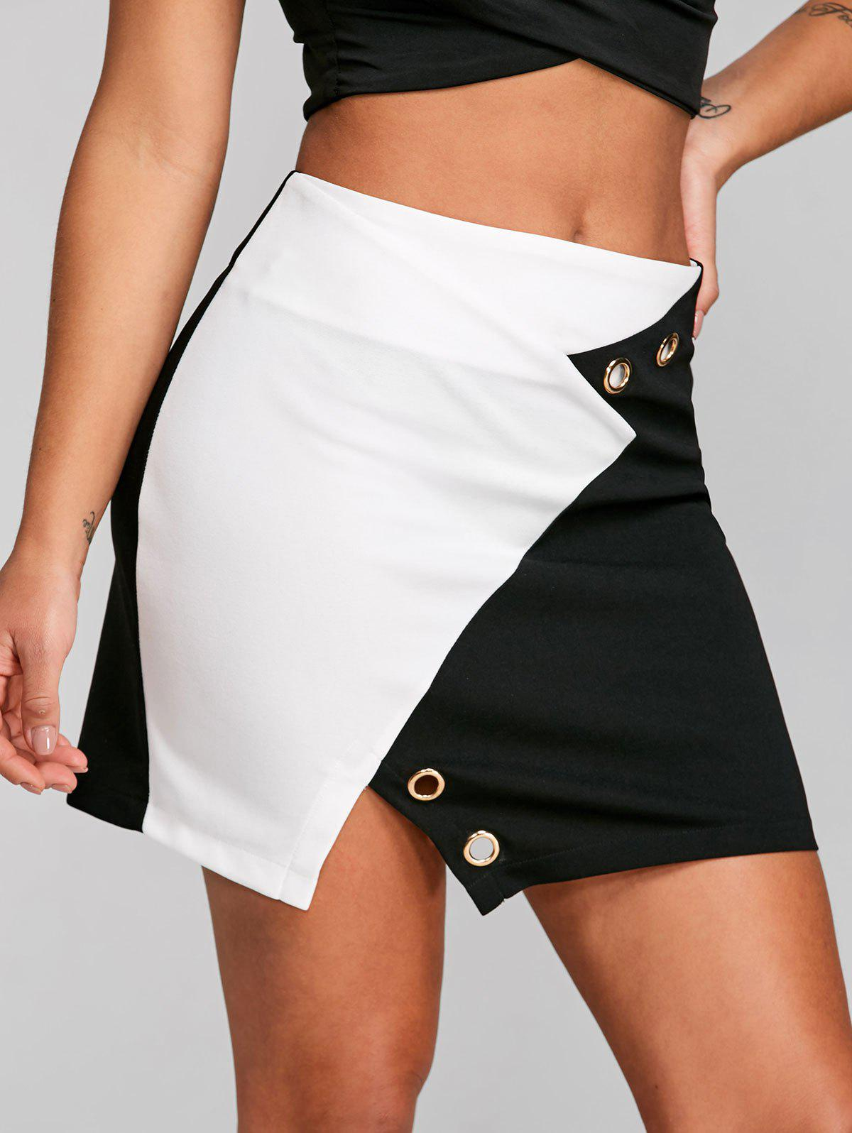 Color Block High Waisted Skirt - WHITE/BLACK 2XL
