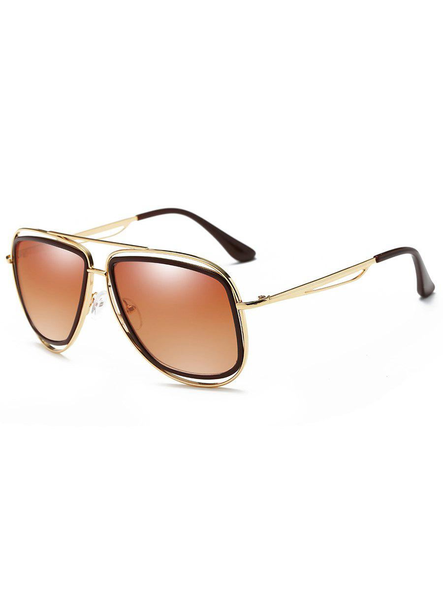 Anti Fatigue Hollow Out Metal Driver Sunglasses - GOLD FRAME/DRAK BROWN