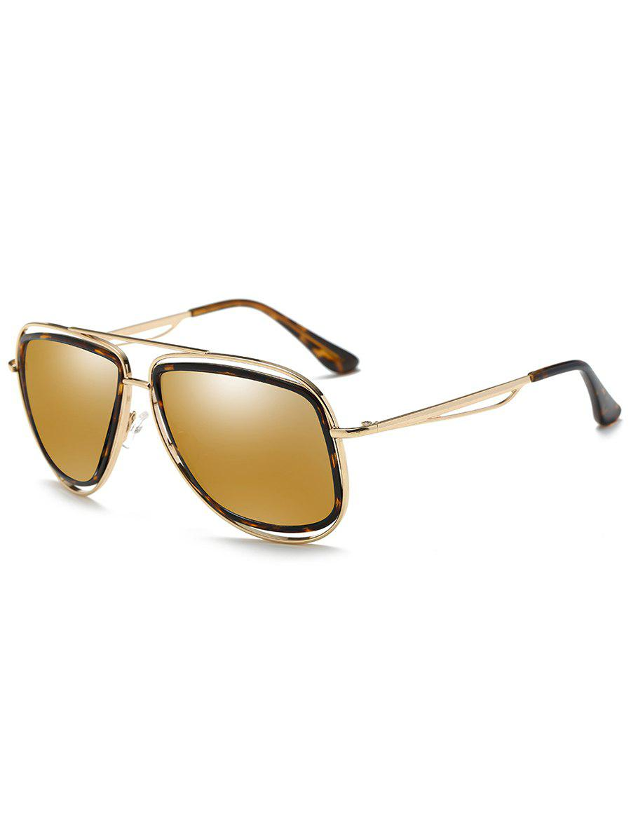 Anti Fatigue Hollow Out Metal Driver Sunglasses - GOLDEN/LUXURY GOLD COLOR