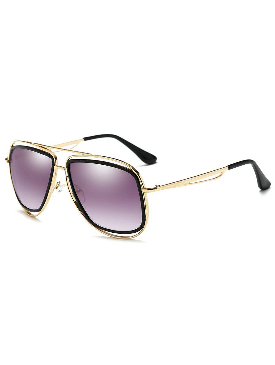 Anti Fatigue Hollow Out Metal Driver Sunglasses - GOLD FRAME / PURPLE LENS