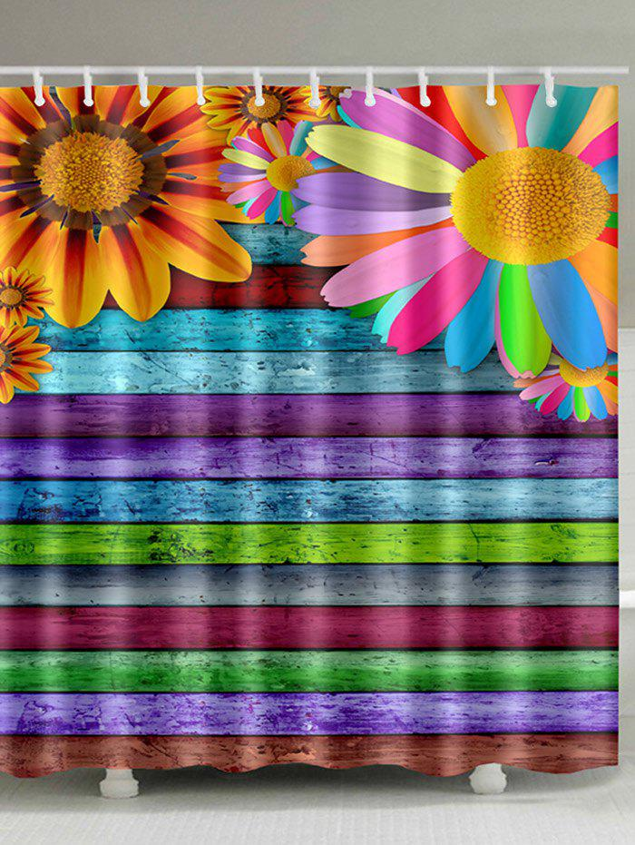 Sunflowers Colorful Wooden Board Print Bathroom Shower Curtain - multicolor W59 INCH * L71 INCH