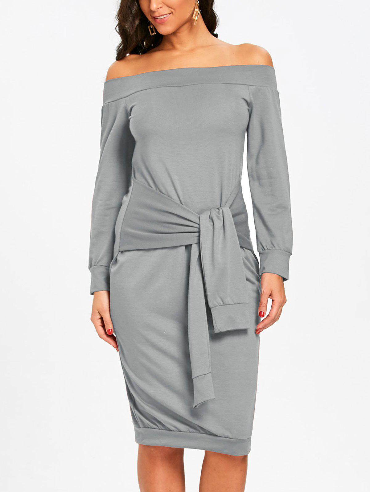 Off Shoulder Tie Waisted Sweatshirt Dress - GRAY L