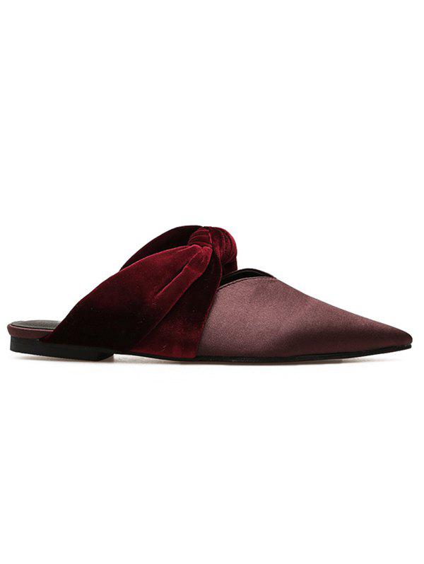 Twist Upper Satin Slide Flats - CHESTNUT RED 37