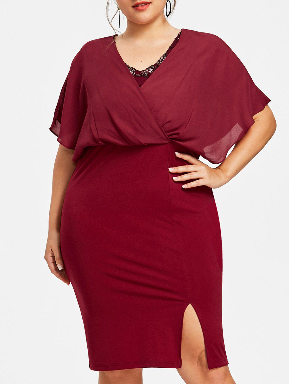 Plus Size Slit Blouson Party Dress - WINE RED XL
