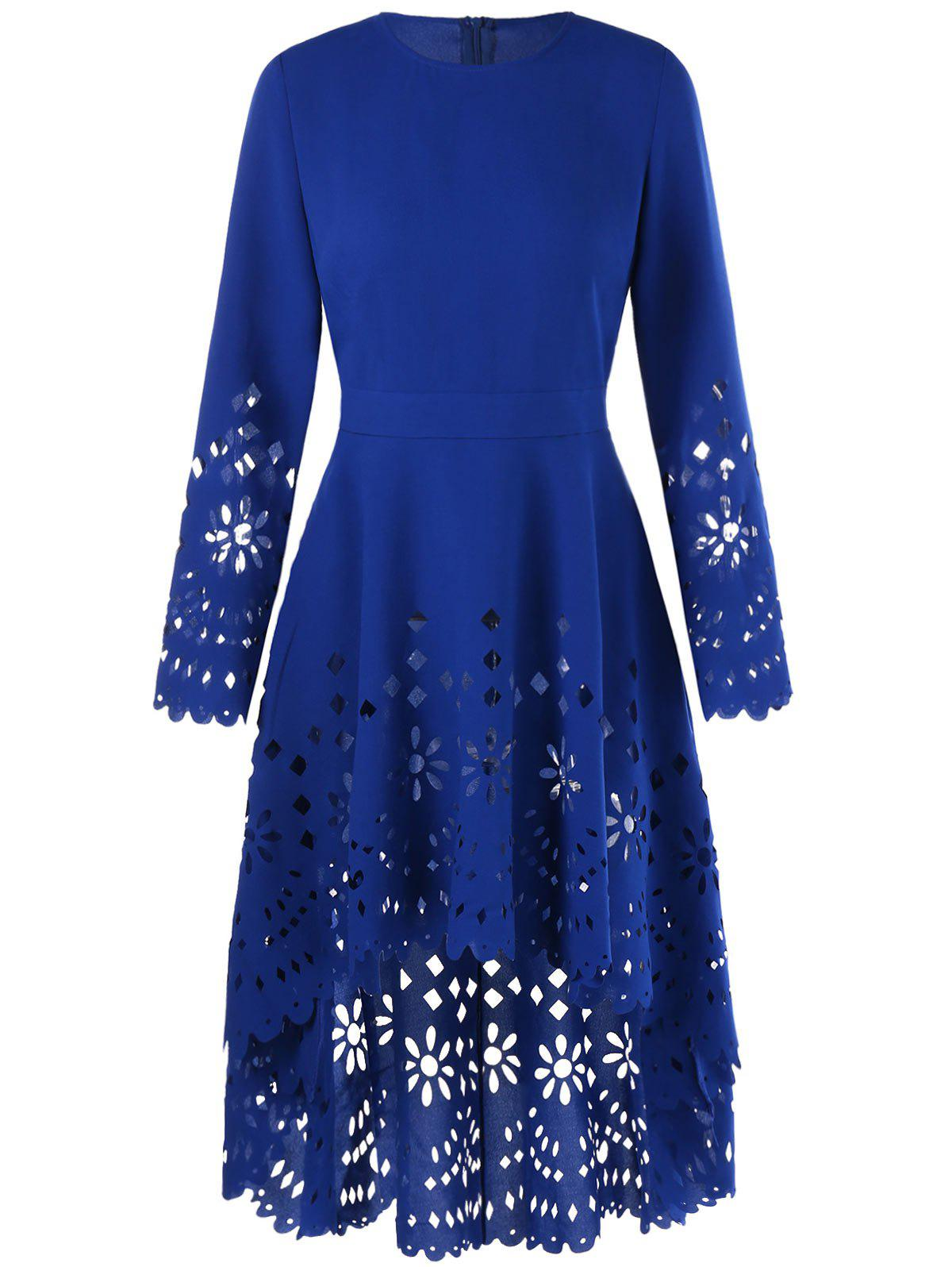 Openwork High Low Flowy Long Top - BLUE L