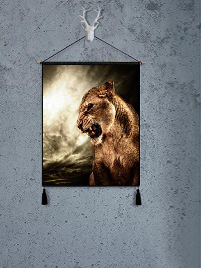 Roar Lion Pattern Wall Art Painting - BROWN 1PC:18*26 INCH(NO FRAME)