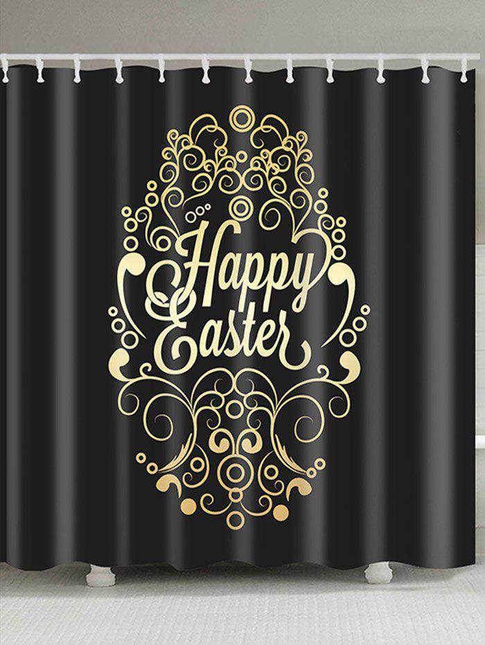 Happy Easter Print Waterproof Shower Curtain - BLACK W71 INCH * L79 INCH
