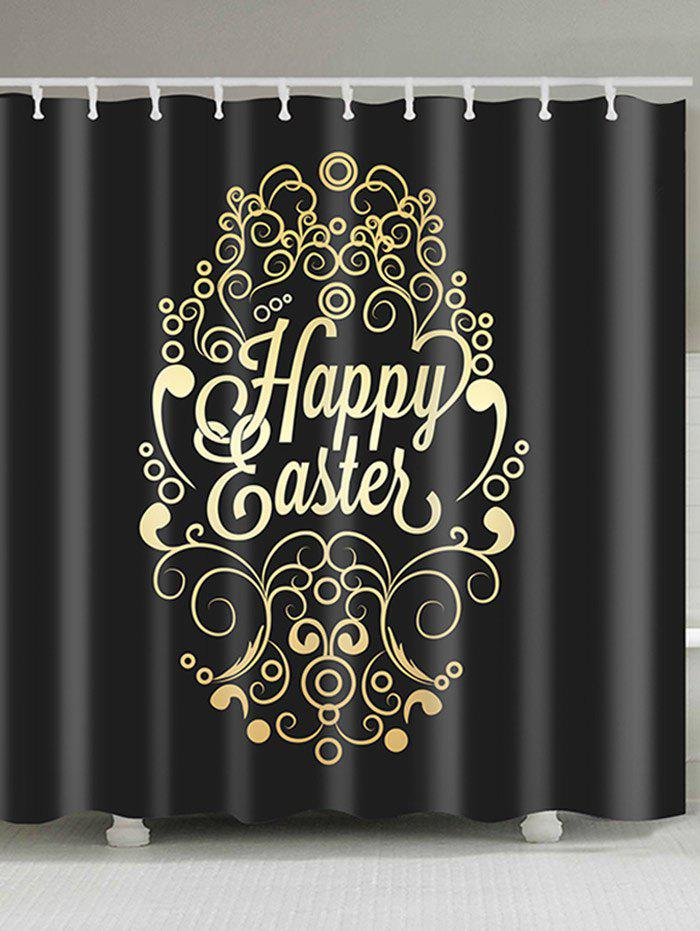 Happy Easter Print Waterproof Shower Curtain - BLACK W59 INCH * L71 INCH