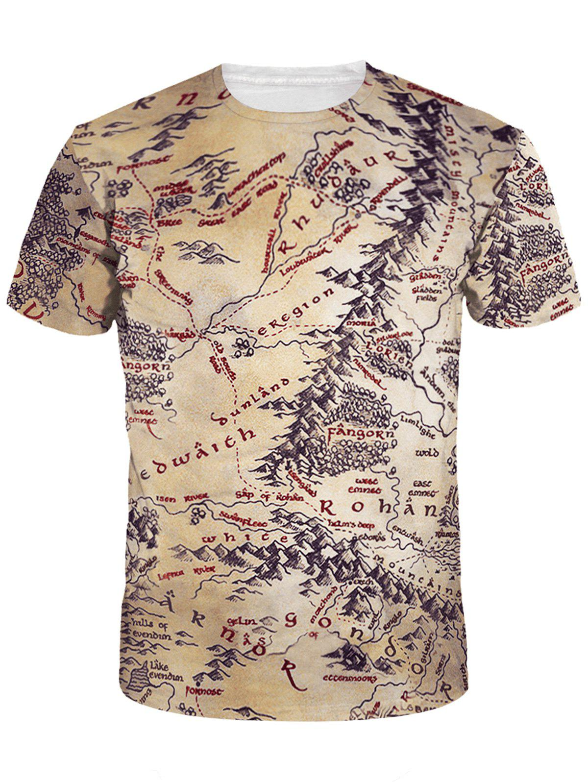 цена Short Sleeve Crew Neck Map Print Tee