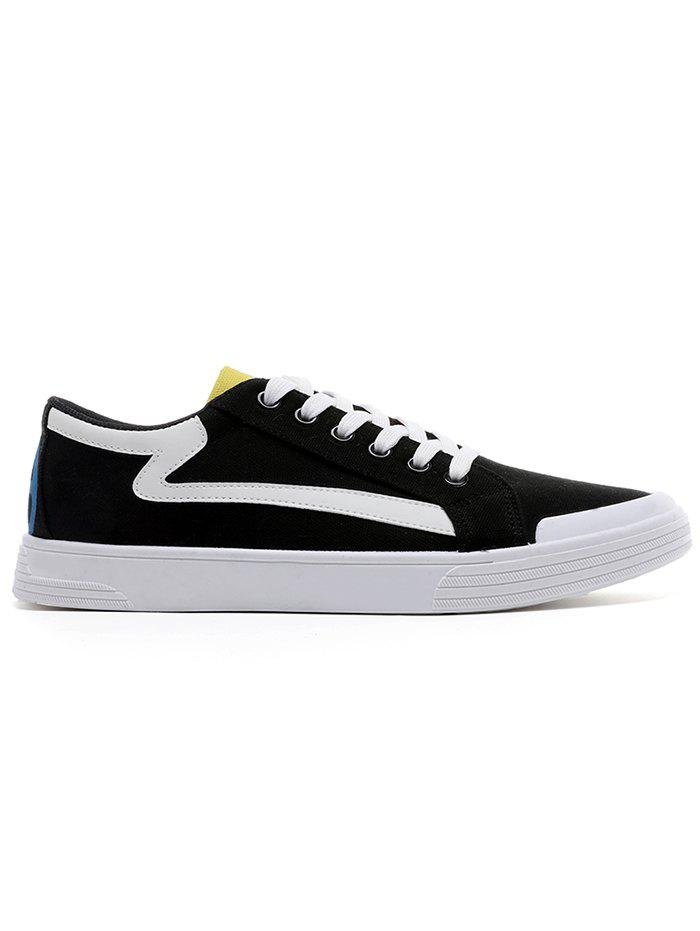 Contrasting Canvas Skate Shoes - BLACK 43