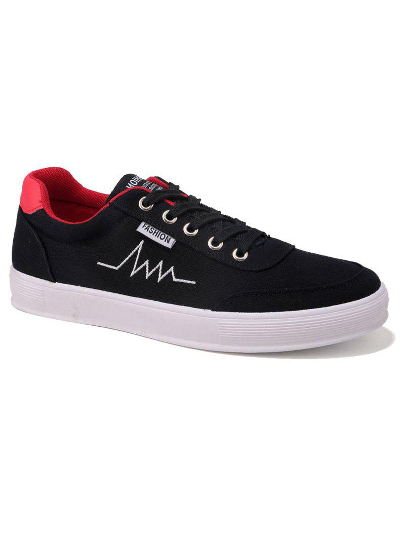 Canvas Contrast Collar Embroidery Skate Shoes - RED 43