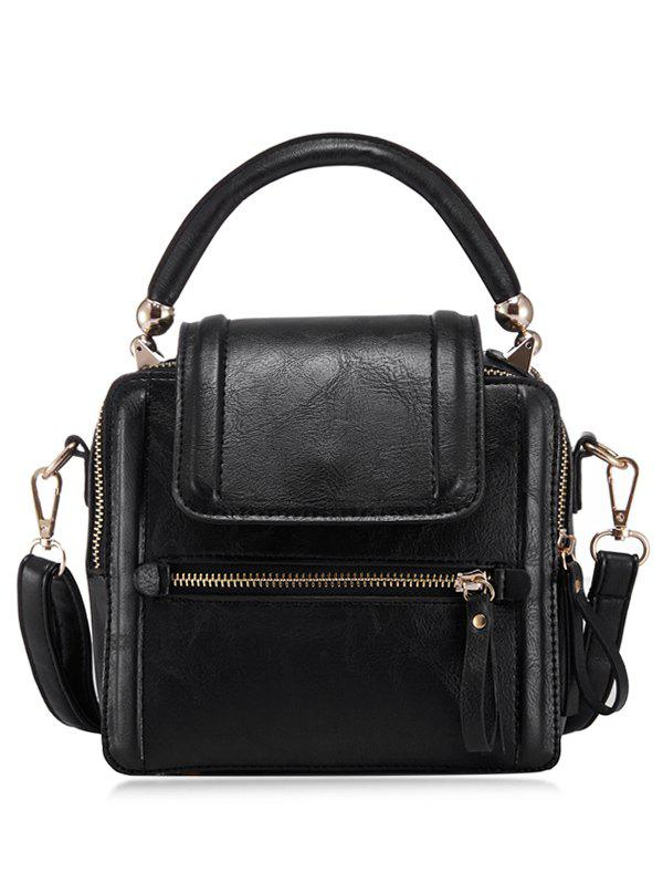 PU Leather Zipper Closure Shoulder Bag