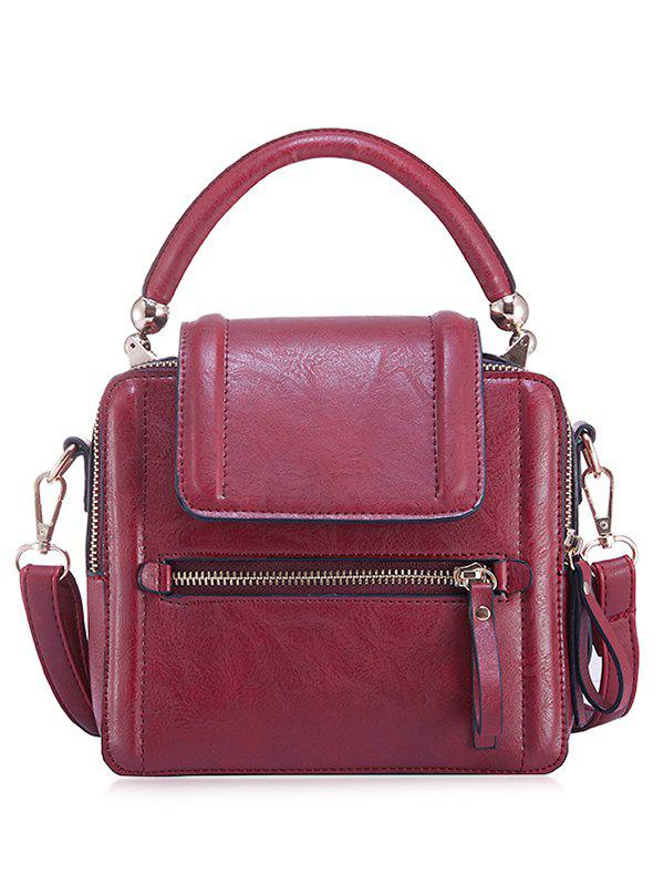 PU Leather Zipper Closure Shoulder Bag - SCARLET