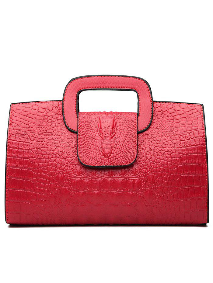Faux Leather Embossed Handbag with Shoulder Strap - RED