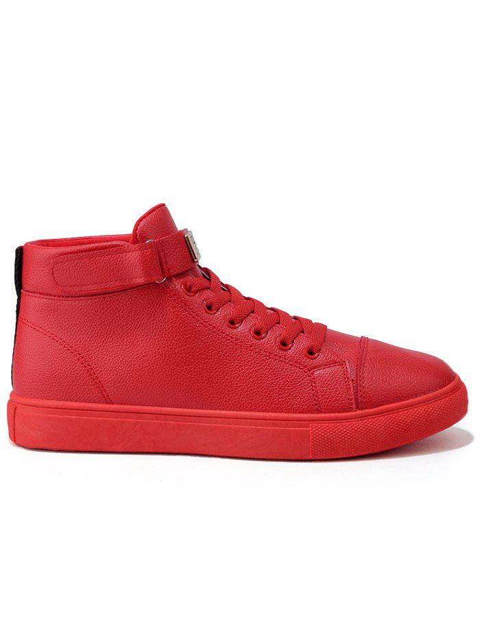 High Top Hook and Loop Casual Shoes - RED 40