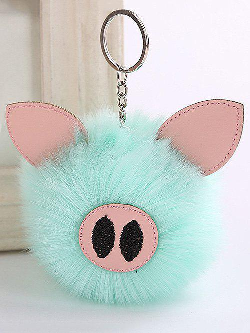 Fuzzy Ball Piggy Embellished Keychain - LIGHT BLUE