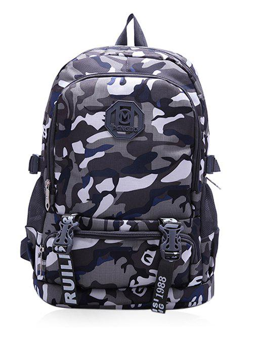Color Block Large Capacity Travel Backpack - GRAY