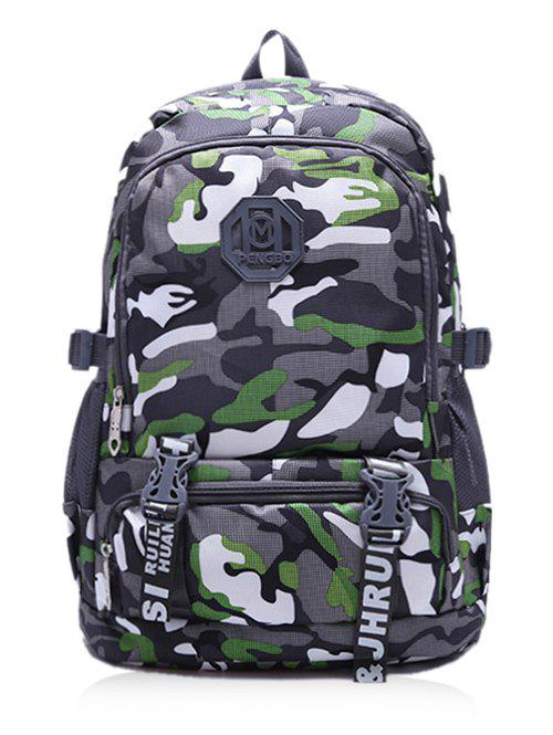 Color Block Large Capacity Travel Backpack - GREEN