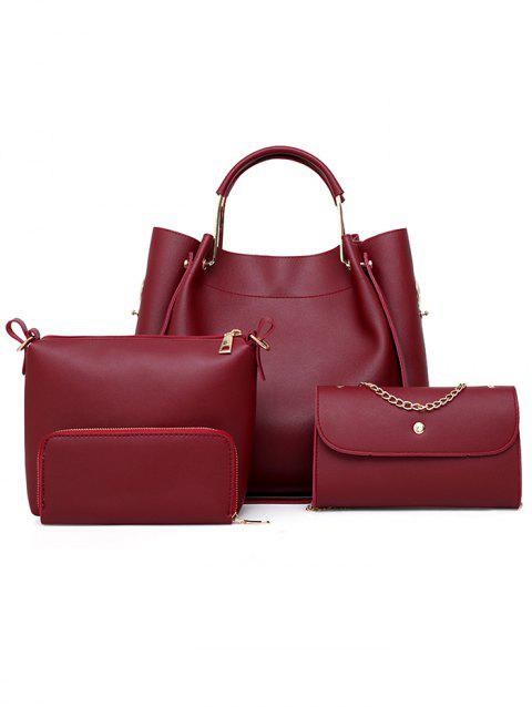 PU Leather Hand Bag Tote Satchel Purse 4 Pieces Set - RED WINE