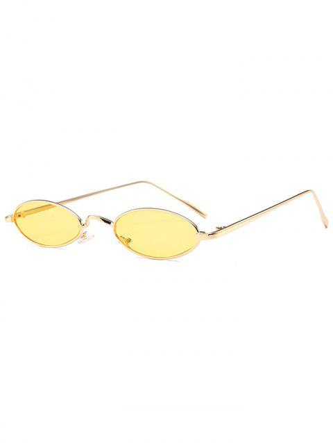 Anti Fatigue Metal Full Frame Oval Sunglasses - YELLOW