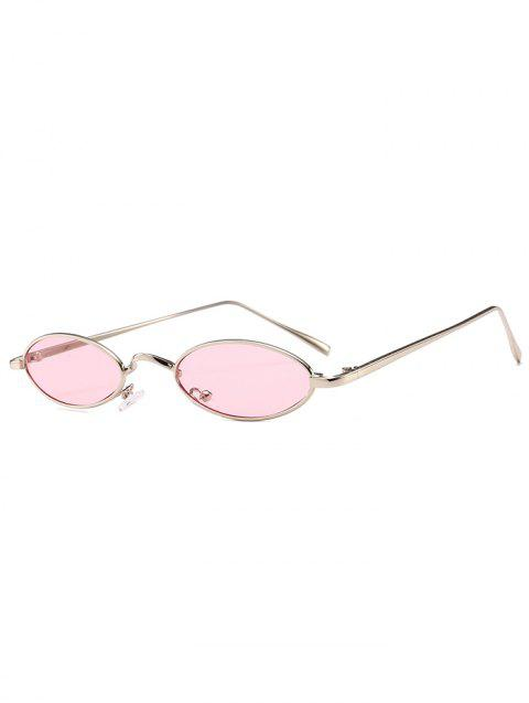 Anti Fatigue Metal Full Frame Oval Sunglasses - LIGHT PINK