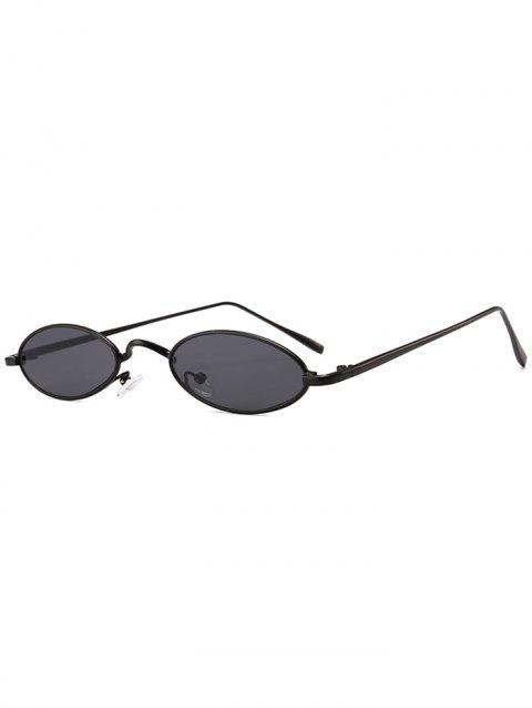 Anti Fatigue Metal Full Frame Oval Sunglasses - BLACK/GREY