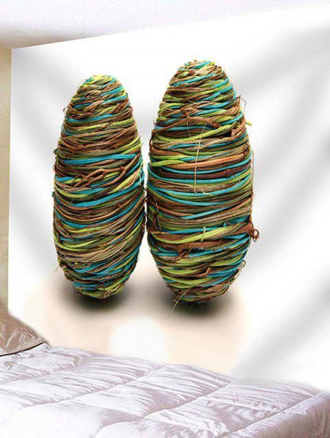 Rope Winding Eggs Print Decor Tapestry - SEA GREEN W71 INCH * L71 INCH