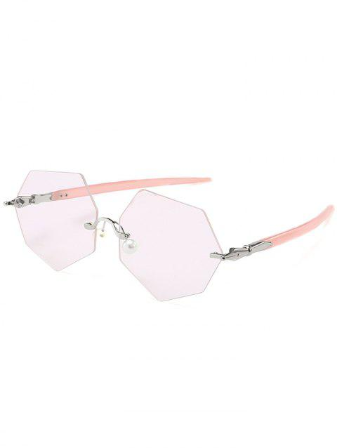 Statement Irregular Rimless Pearl Sunglasses - CLEAR LIGHT PINK