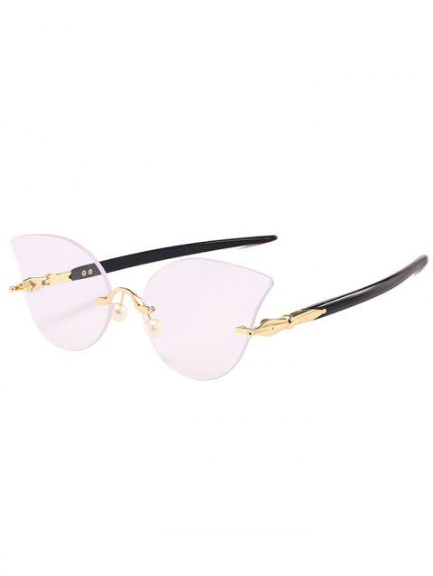 Unique Rimless Pearl Sun Shades Sunglasses - BLACK WHITE
