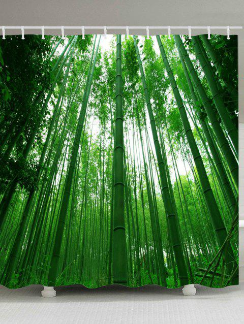Bamboo Forest Print Waterproof Shower Curtain - JUNGLE GREEN W71 INCH * L71 INCH