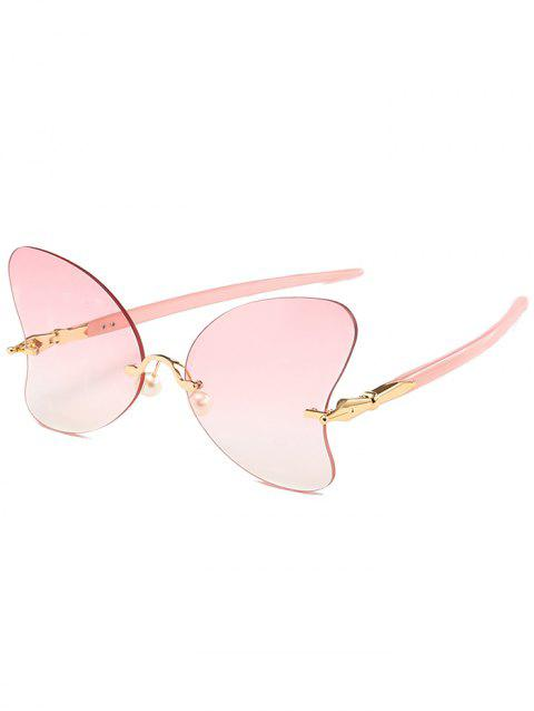Anti Fatigue Rimless Pearl Butterfly Sunglasses - LIGHT PINK