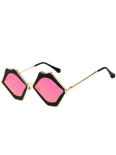 Lips Shaped Metal Frame Sunglasses - PALE VIOLET RED