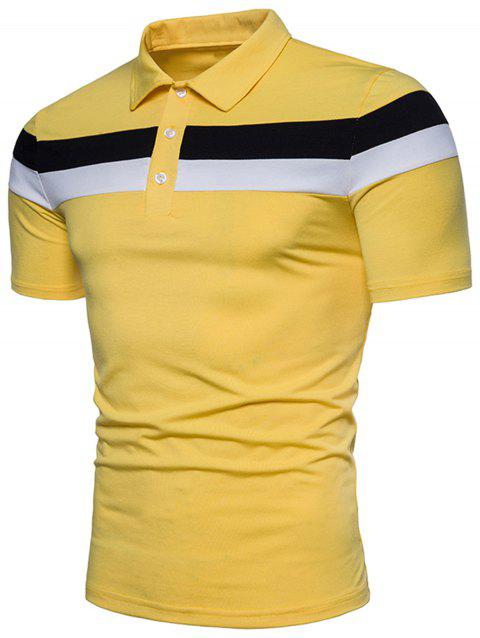 Striped Design Polo T-shirt - BRIGHT YELLOW 2XL