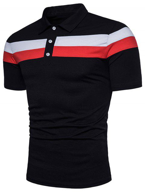 T-Shirt Polo Design Rayé - Noir 3XL