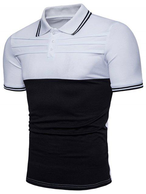 Pleat Design Color Block Polo Shirt - WHITE 3XL