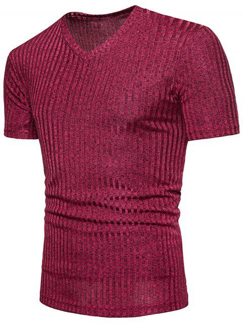 V Neck Knitted T-shirt - RED WINE 2XL