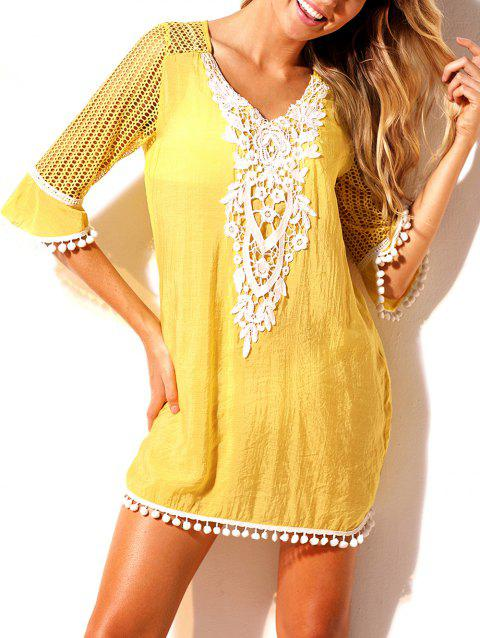 Hollow Out Pom Pom Beach Dress - YELLOW S