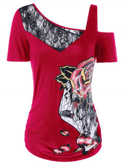 T-shirt à Rose à Empiècement en Dentelle à Col Halter - multicolor A XL
