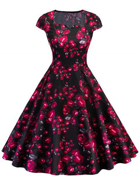 Retro Square Collar Rose Print Pin Up Dress - BLACK XL
