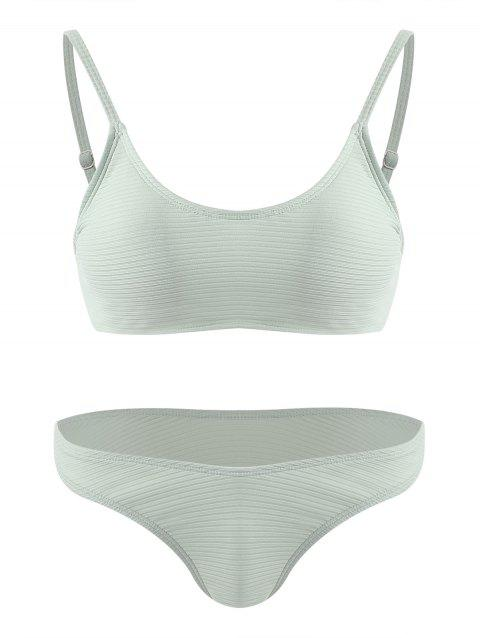 Ribbed High Cut Bralette Bikini Set - PALE GREEN 2XL