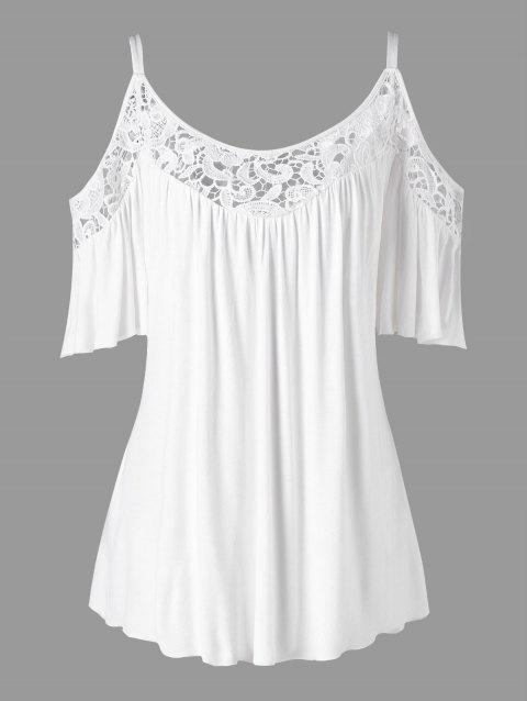 Cold Shoulder Plus Size Lace Panel Blouse - WHITE 2XL