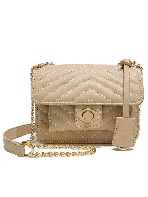 PU Leather Chic Quilted Crossbody Bag - CAMEL BROWN