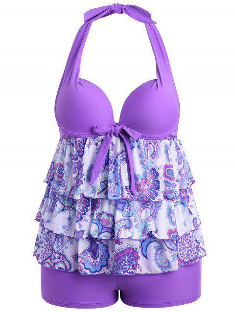 Plus Size Backless Tiered Tankini Set - LIGHT PURPLE 2XL