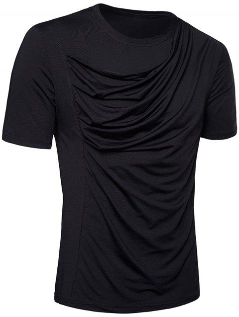T-Shirt en Stretch Design Plissé - Noir 2XL
